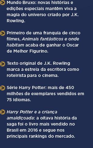 Mundo Bruxo: novas histórias e edições especiais mantêm viva a magia do universo criado por J.K. Rowling. ** Primeiro de uma franquia de cinco filmes, Animais fantásticos e onde habitam acaba de ganhar o Oscar de Melhor Figurino. ** Texto original de J.K. Rowling marca a estreia da escritora como roteirista para o cinema. ** Série Harry Potter: mais de 450 milhões de exemplares vendidos em 75 idiomas. ** Harry Potter e a criança amaldiçoada: a oitava história da saga foi o livro mais vendido no Brasil em 2016 e segue nos principais rankings do mercado.